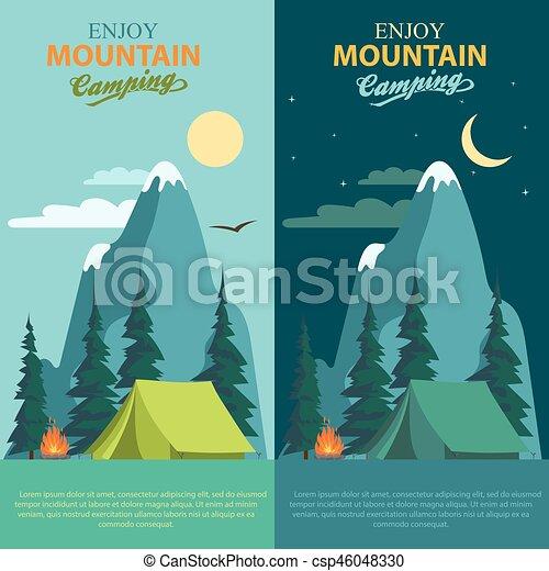 Camping Adventure, bonfire fire and tent, vector - csp46048330