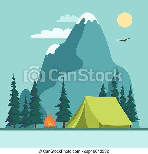 Camping Adventure, bonfire fire and tent, vector - csp46048332