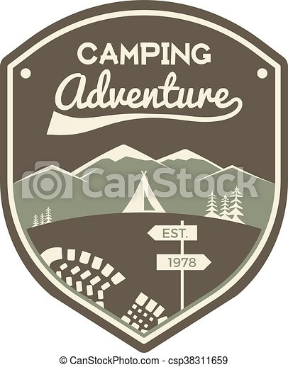 Camping adventure label. Mountain winter camp badge. Outdoor explorer logo design. Travel monochrome and hipster color insignia. Snowboard icon symbol. Wilderness emblem and stamp. Vector patch - csp38311659