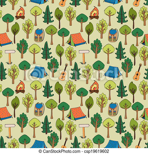 Camping And Hiking Background Seamless Pattern