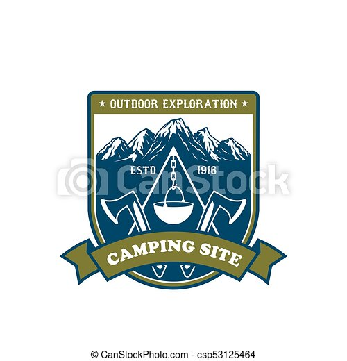 Camping and outdoor adventure badge design - csp53125464