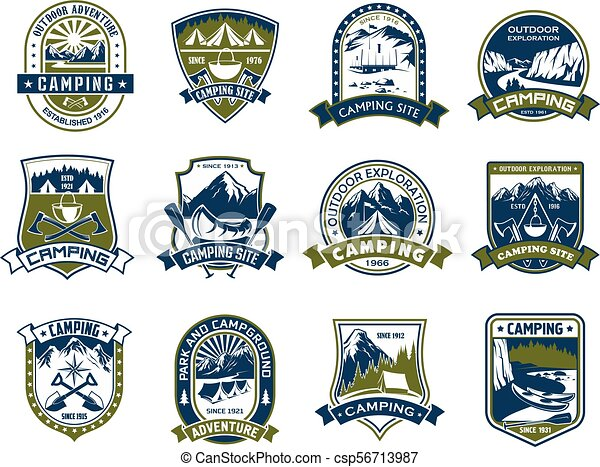 Camping and outdoor adventure shield badge design - csp56713987