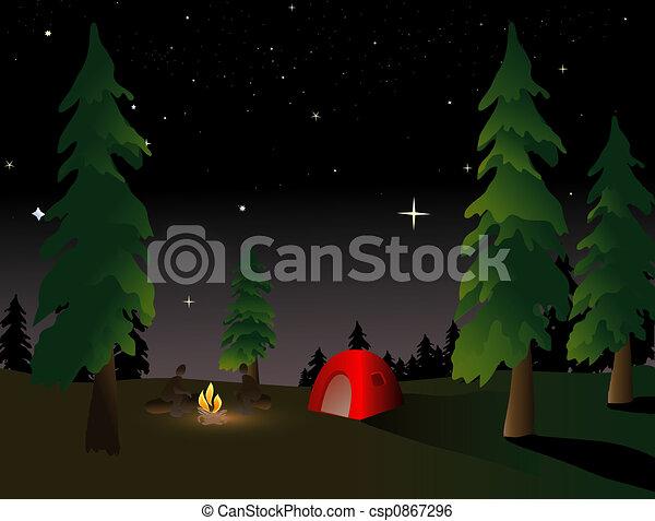 Camping at Night - csp0867296