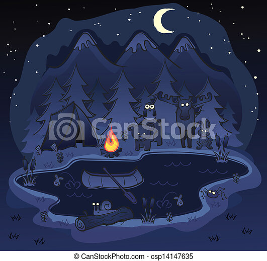 Camping At Night with Animals - csp14147635