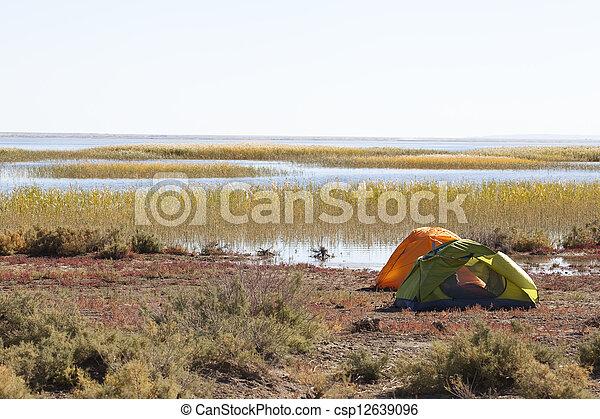 Camping at the lake - csp12639096
