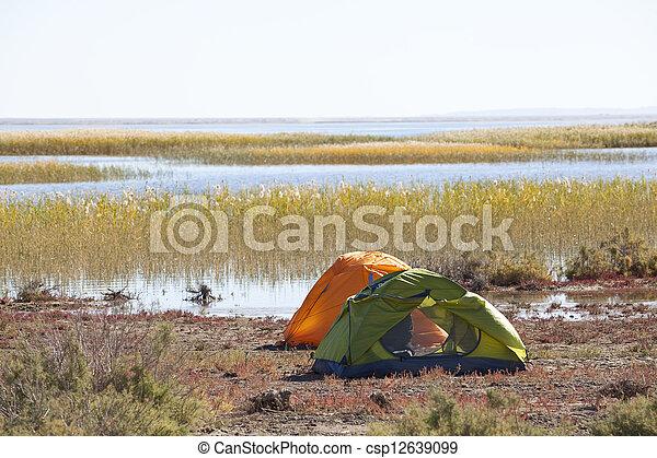 Camping at the lake - csp12639099