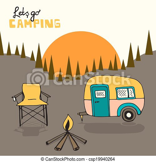 Camping Background Vector With Sun And Forest