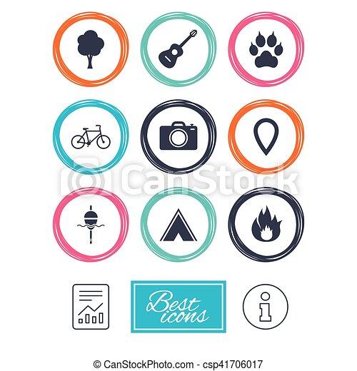 camping, brûler, icons., peche, bike., tourisme - csp41706017