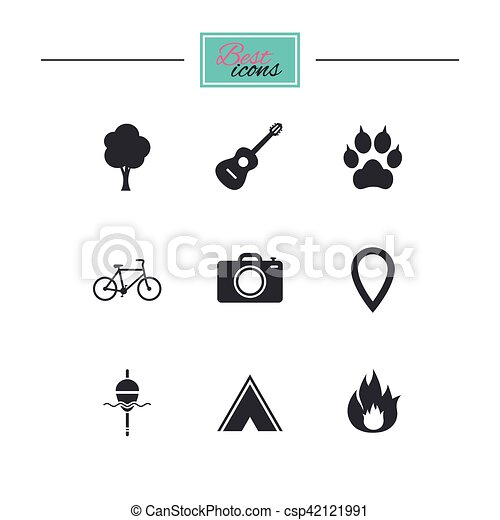 camping, brûler, icons., peche, bike., tourisme - csp42121991