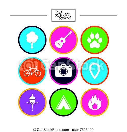 camping, brûler, icons., peche, bike., tourisme - csp47525499