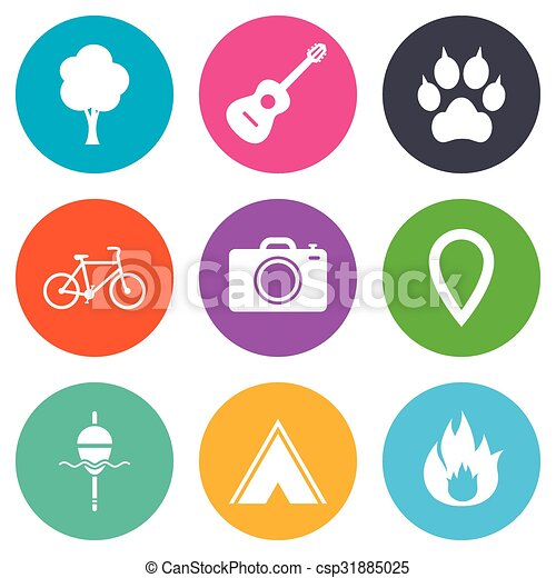 camping, brûler, icons., peche, bike., tourisme - csp31885025