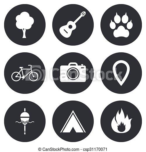 camping, brûler, icons., peche, bike., tourisme - csp31170071