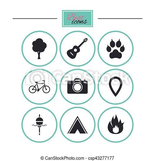 camping, brûler, icons., peche, bike., tourisme - csp43277177