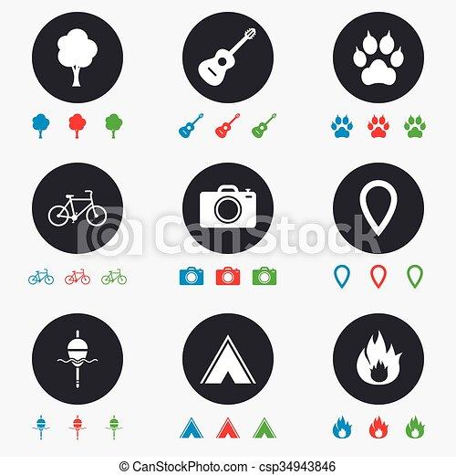 camping, brûler, icons., peche, bike., tourisme - csp34943846
