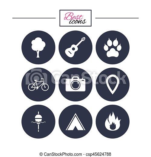 camping, brûler, icons., peche, bike., tourisme - csp45624788