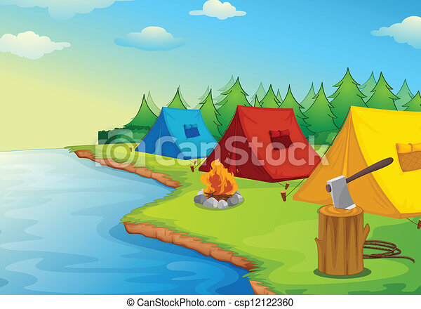 illustration of camping near a river in the nature clip motor home clip art mobile home clipart free