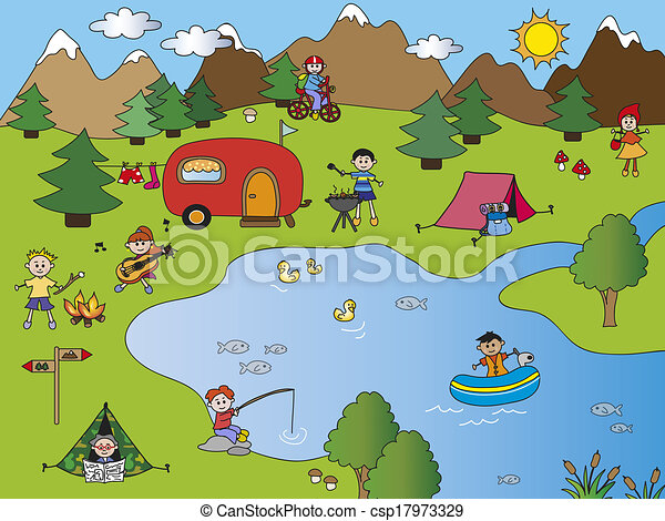 Camping Clip Art And Stock Illustrations 49687 EPS