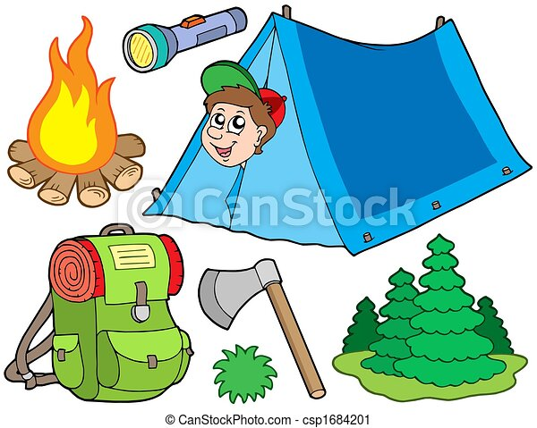 Camping Collection On White Background