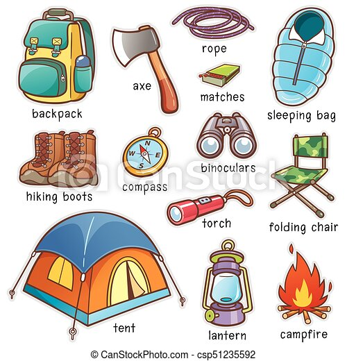 Vector Illustration Of Cartoon Camping Equipment Vocabulary Eps