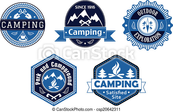Camping emblems and labels for travel design - csp20642311