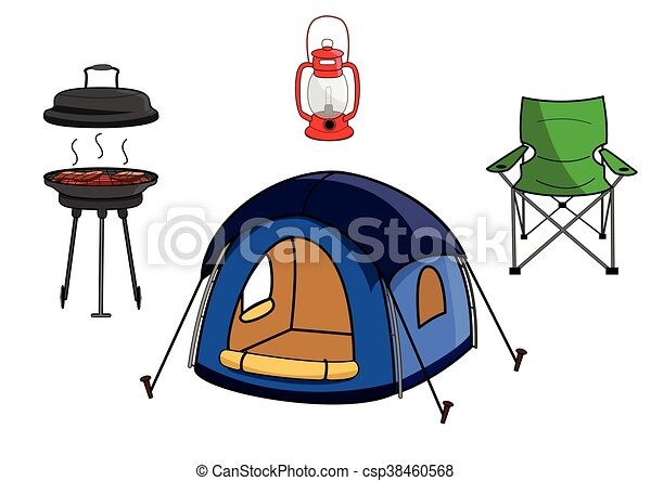 Vector Illustration Of Outdoor Picnic Camping Equipment Gear Clip