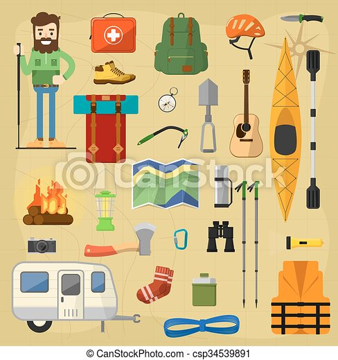 Objects For Camping Icons Vector Symbols Relaxing Eps