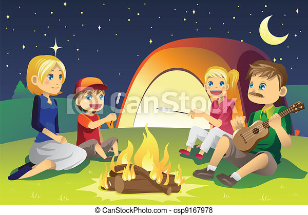 Camping Family A Vector Illustration Of