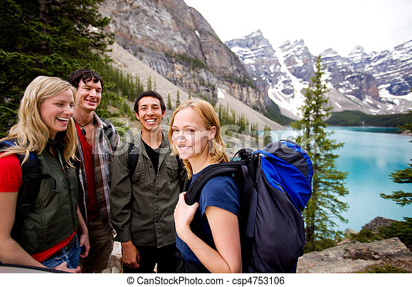 Camping Friends in Mountains - csp4753106