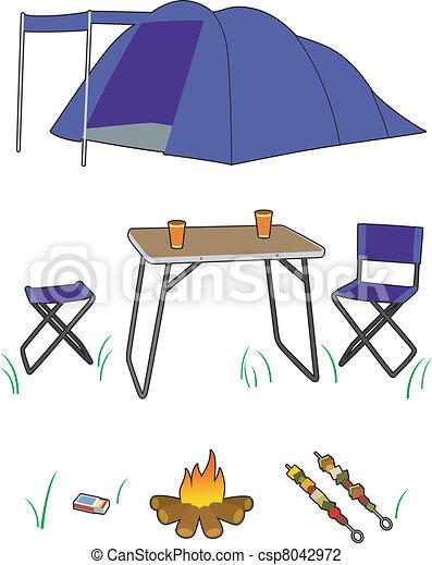 Camping Gear Set Of Equipment Vector Illustration