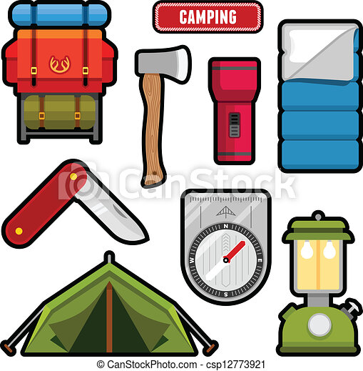 Camping Graphics Set Of Equipment And Vector