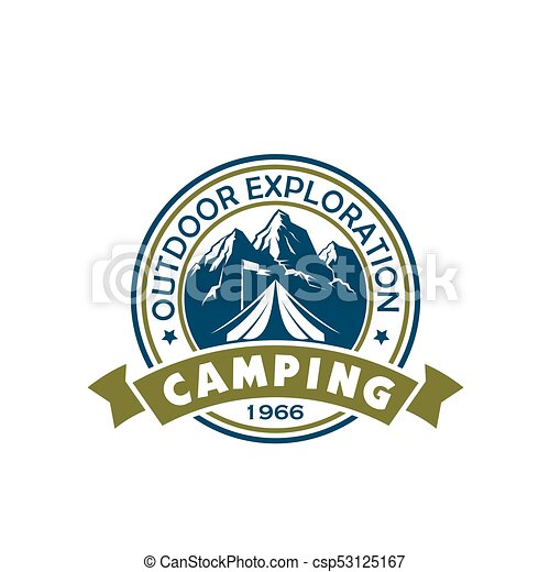 Camping holiday and outdoor recreation badge - csp53125167