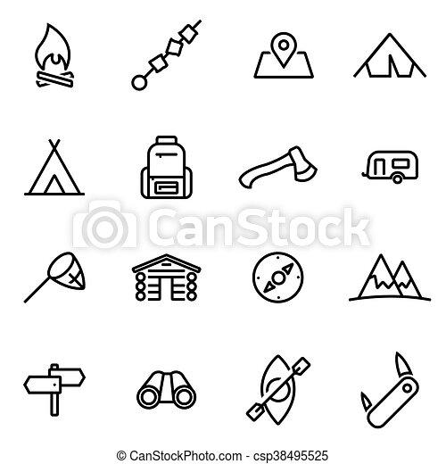 camping, icônes, -, illustration, vecteur, ligne mince - csp38495525