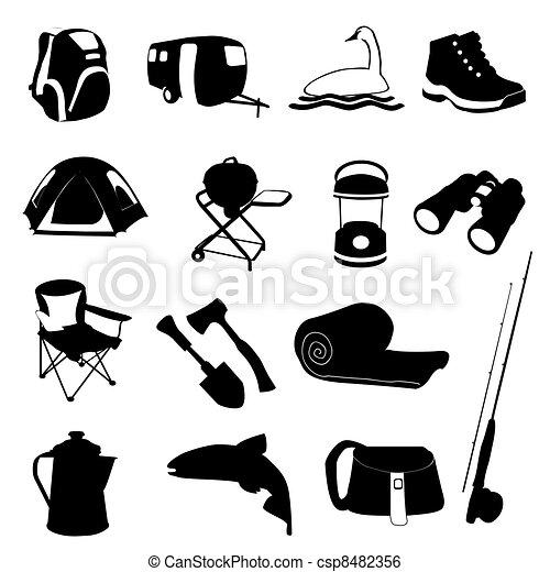 Camping Icon Set Clip Art Vector