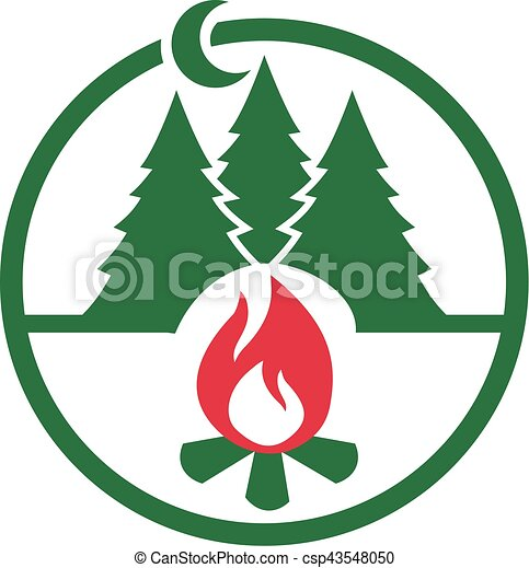 camping icon with campfire at night in the forest clipart vector rh canstockphoto com game night clip art free date night clip art