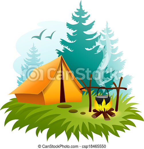 Camping in forest with tent and campfire - csp18465550