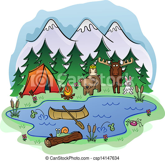 Camping In Summer with Animal Frien - csp14147634