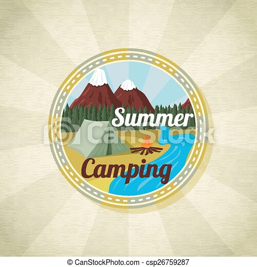 Camping landscape with tent and bonfire, retro vector - csp26759287