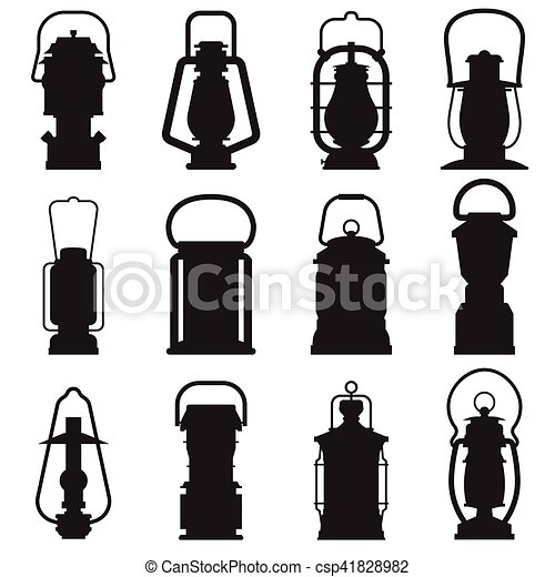 Camping Lantern Silhouettes Silhouette Set Isolated