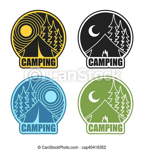 Camping logo day and night. Landscape with tent and forest. Emblem Accommodation in camp. Sun and moon. Fire at booth - csp40416352