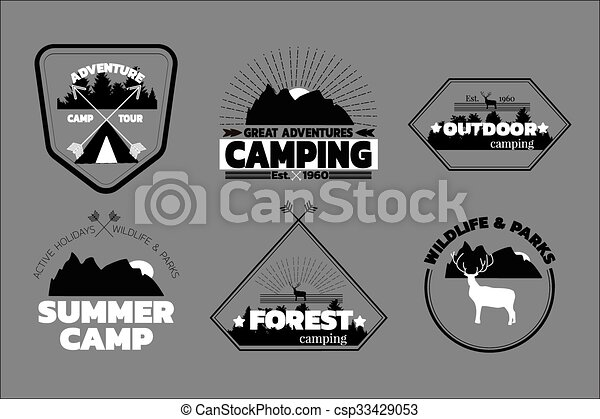Camping logos set, outdoor emblems, labels. Camp logos and outdoor ...