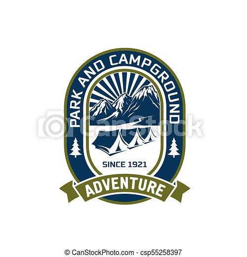 Camping outdoor mountain adventure club vector icon - csp55258397