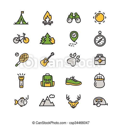camping, randonnée, set., vecteur, tourisme, icône - csp34466047