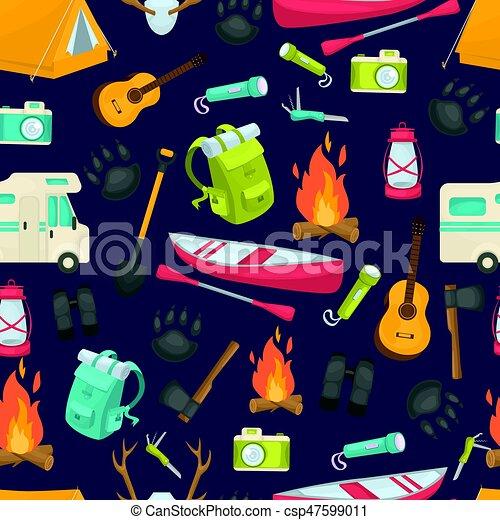 Camping Seamless Pattern - csp47599011