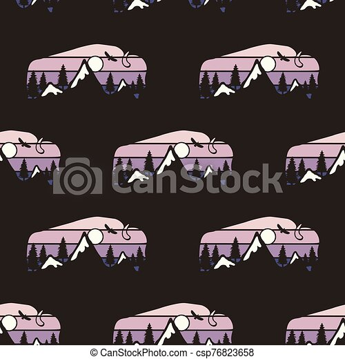 Camping Seamless Pattern With Wild Animal Labels Buffalo Badges Travel Wallpaper Background Stock Vector