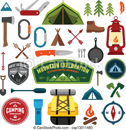 Camping Symbols Set Of Equipment And Icons Vector