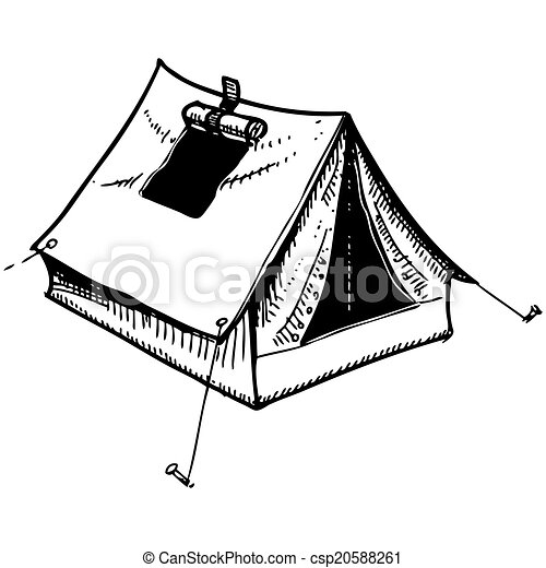 Camping Tent Hand Drawing Sketch Eps 10 Vector Clip Art