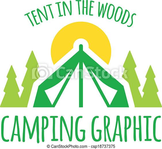 Camping tent graphic - csp18737375