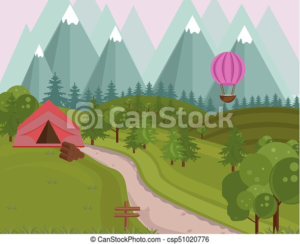 Camping tent in the mountains background  Vector green natures