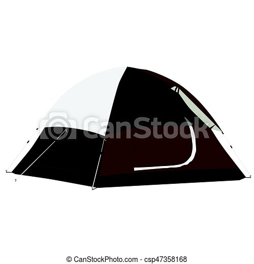 Brown Camping Tent Vector Illustration Equipment Clip