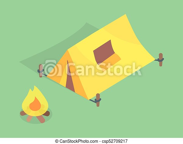 Camping Tent with Window on Roof, Bonfire Vector - csp52709217